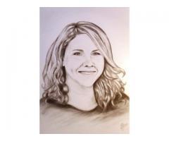 Uniek portret in houtskool of pastel