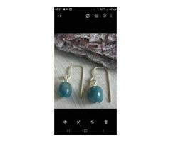 Oorbellen, blauwe jade