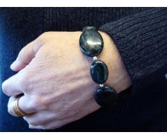 Blauwe Dumortieriet edelsteen armband met sterling zilver - GemChristina DU0449