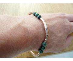 Rose gouden groen serafiniet armband - bangle - GemChristina SER2505