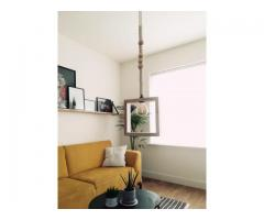 Unieke hanglamp beukenhout / macramé