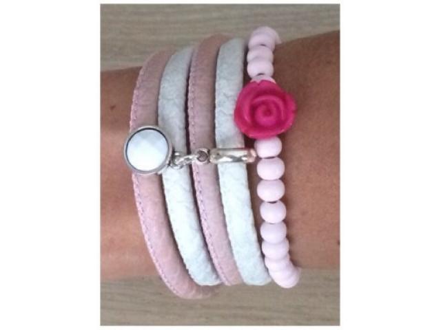 Armbanden set pink rose