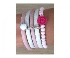 Armbanden set pink rose