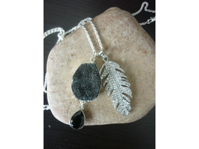 ketting met zwart/zilver Amethyst