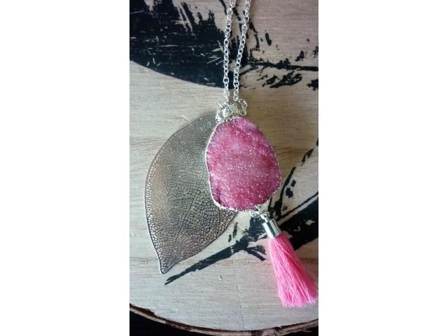 Ketting met Pink Druzy Agaat
