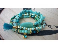 Turquoise / goud combi met kwastje