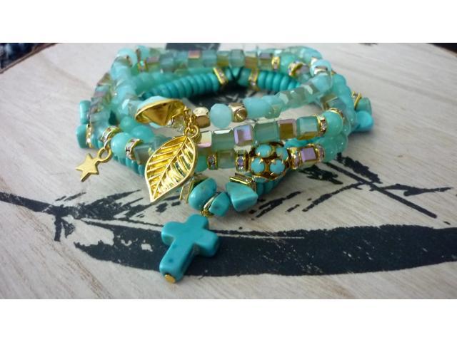 Aqua / turquoise / goud combi
