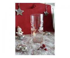 glazen kandelaar met glas gravure