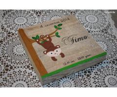 Geboortekaartje op canvas of steigerhout