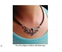 Fine silver filigree necklace with black onyx