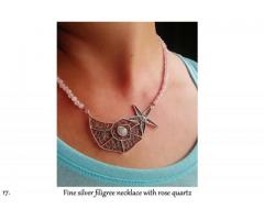 fine silver filigree necklace with rose quartz